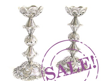 SALE 20% OFF - Artisan Filigree Candlesticks / Candles Holder 925 Sterling Silver Judaica - Free Express Shipping ID722