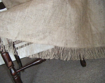 Fringed bottom OPTION  for burlap curtains by Jackie Dix
