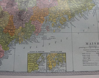 Map original vintage 1911 Maine