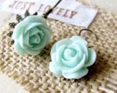 SALE ..  Mint Green Rose Earrings... Bridesmaid Gift... Shabby Chic Antique Dangle Detailed Flower