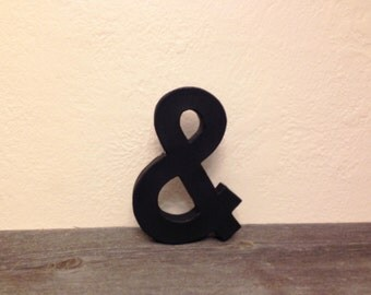 """BLACK Faux Metal Block Ampersand - & """"and"""" Sign - ANY color"""