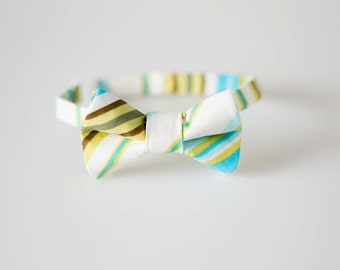 Baby Bowtie - Blue, Green, and Brown Stripes - Toddler Bow Tie