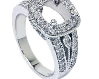 3/4CT Cushion Halo Diamond Engagement Ring Setting White Gold Semi Mount Vintage