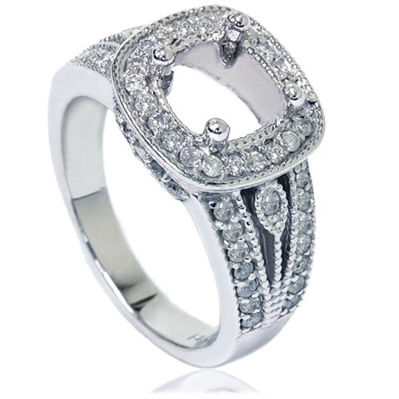 3 4CT Cushion Halo Diamond Engagement Ring Setting White Gold