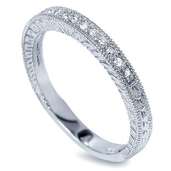 14 Karat Bands: Diamond .20CT Vintage Wedding Ring Band Milgrain 14 Karat
