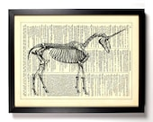 Unicorn Skeleton, Home, Kitchen, Nursery, Bath, Office Decor, Wedding Gift, Eco Friendly Book Art, Vintage Dictionary Print 8 x 10 in.