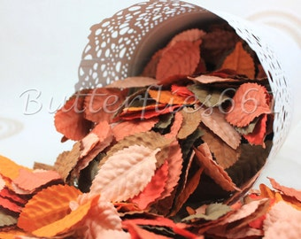 100 Mixed Fall Orange Tone Handmade Scrapbook Paper Leaves with no stem Code 210