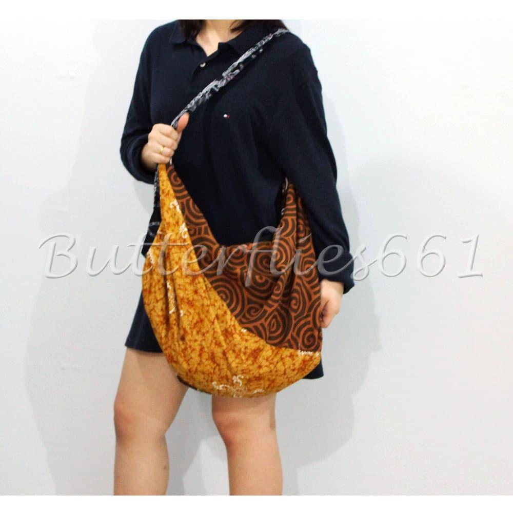Earthy Brown Patchwork Hippie Gypsy Boho Thai Handmade Batik Cotton Bag Birthday Gift Back To School