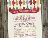 Multi Colored Handsome Argyle Father's Day Printable Party Invitation