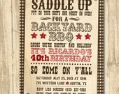 Western BBQ Birthday Printable Birthday Party Invitation