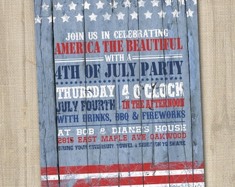 Rustic Vintage Red, White and Blue Printable Fourth of July Invitation on Wood style background