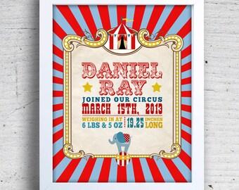 "11 x 14"" PRINTABLE Circus Carnival Birth Print, Circus Art Print, Circus decor, Circus Themed party, Circus Baby Shower, Circus Wall Art"