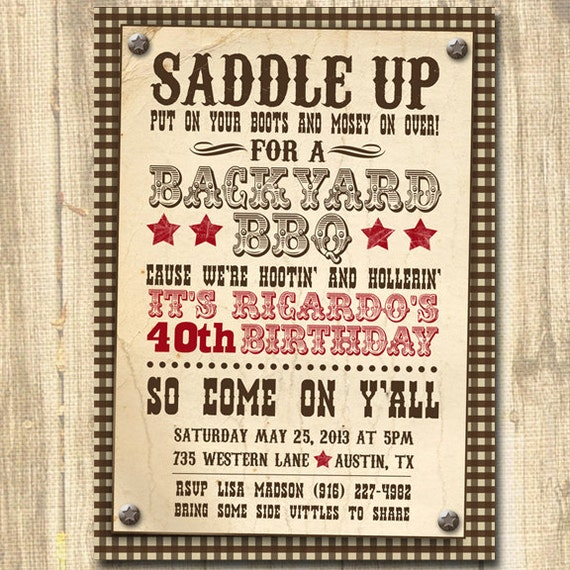 Western Themed Birthday Western Invitation Western theme