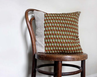 Contemporary Decorative Pillow / Cushion Cover. Tribal Chevron Print. Recycled Vintage Kimono Wool / Natural Linen. Eco Living.