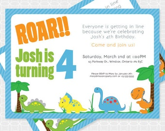 Party Printable Dinosaur Party Invitation - Personalized Printable - trex, triceratops, dino