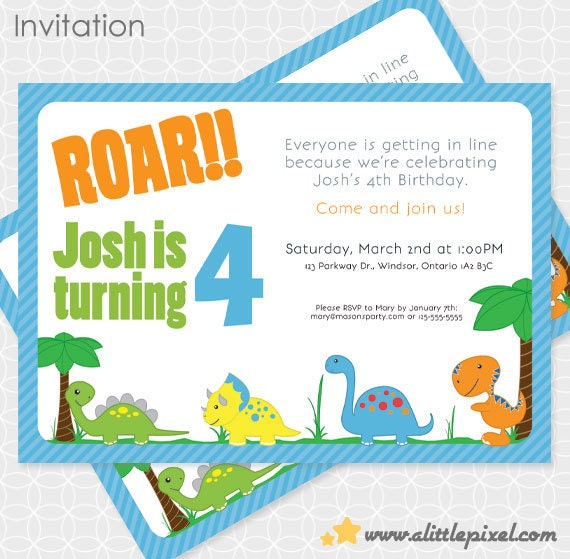 Dinosaur Party Invitation, Printable file, Personalized by A ...
