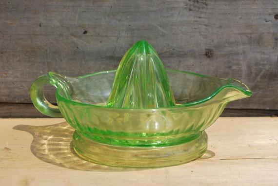 Glass Citrus Juicer Electric ~ Vaseline glass citrus juicer by psychedelphia on etsy