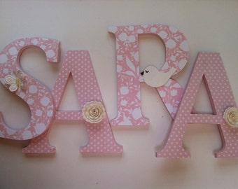 Alphabet wooden letters for nursery in pink, and white spelling out your child's name letters stand up initial monogram