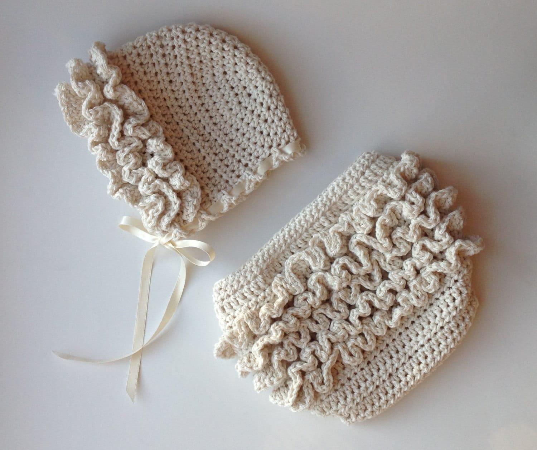 Crochet Pattern For Ruffled Baby Bonnet Hat By