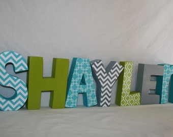 Wall letters, 7 letter set, Wood letters, Blue and green decor, Baby nursery letters, Baby name letters, Wood wall letters, Boys name