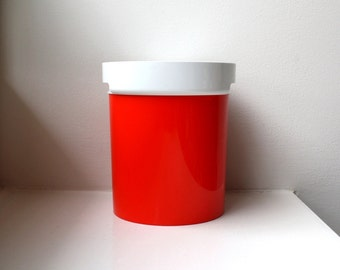 Mod Orange Ice Bucket 70's Retro Modern Space Age Thermo-Serv USA