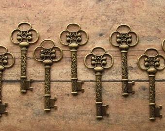 Bellver Antique Bronze Skeleton Key - Set of 10