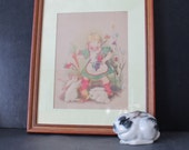 Vintage Marion Bradford Burgess Framed  and Matted Girl and Bunnies print