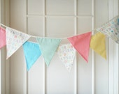 Baby Bunting, Fabric Banners, Pennants, Garlands, Alphabet, Coral, Yellow and Blue Shade - 3 yards (Made to order))