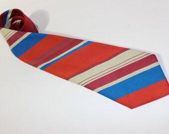vintage 1950's -Superba-  satin neck tie. Irregular repp stripes in Red, Magenta, Blue, & Beige
