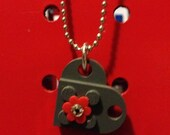 Lego HEART brick pendant accented with Lego flower and swarovski crystal on silver ball chain necklace