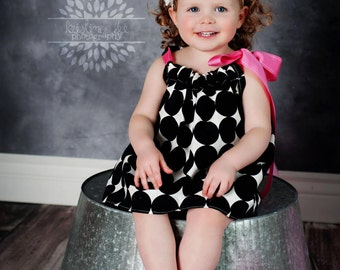 Girl's  Black and White Summer Dress with Pink Accent Ribbon