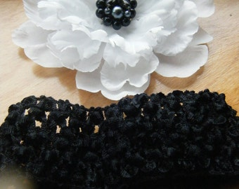 OOAK Floral Clip Black and White with Classic Jewel Center, Bonus Head band . Hair Accessories, One of A Kind