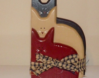 """6"""" High Country Americana Wood Cats Primitive red white blue shelve sitter"""