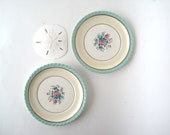 2 VTG Mint and Gold Rose Plates