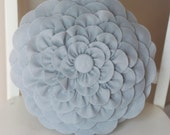 Light Gray Felt Flower Pillow
