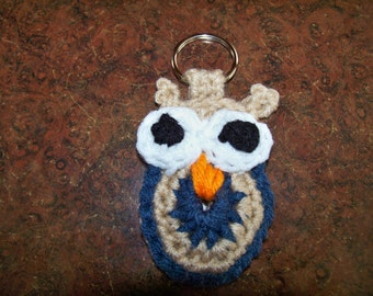 Crocheted Owl Keychain