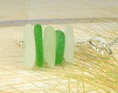 Genuine Sea Glass Necklace Green And White Stacker Eco Friendly