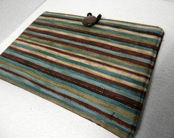 Kindle, Nook, Kobo E-Reader Cover/Book Brown and Blue Candy Stripe