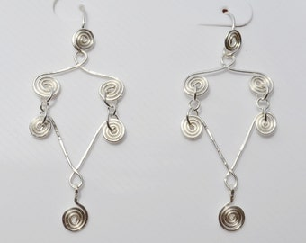 Celtic Spirals Silver Earrings, Celtic Style Silver Earring, wire work earrings