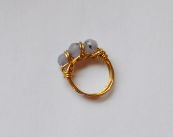 Faceted Lilac Stone and Brass Ring, Size 6