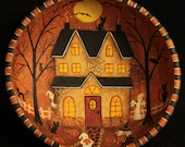 Folk Art Hand Halloween Wooden Bowl MADE TO ORDER - Hand Painted Wood Bowl Haunted Saltbox House Witch, Ghosts, Cats, Bats, Moon, Spider web