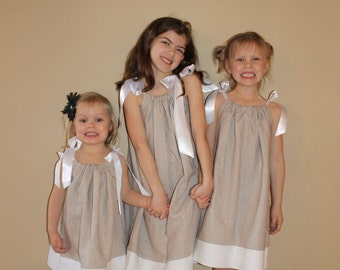 Girls PIllowcase Dress: Linen Beach Dress with Satin Ribbon in Natural, brown or White