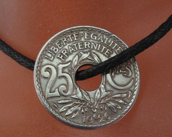 antique FRANCE COIN NECKLACE -  french jewelry  - vintage coin  -  centime -   Liberate Egalite Fraternite -  monogram rf   No.00971