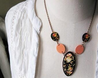 Peach Orange Black Flower Necklace Vintage Inspired Floral Pattern Woman's Fashion