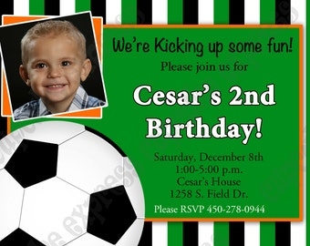 DIY SOCCER  Birthday Party  PRINTABLE Photo Invitation 5x7  green orange  -Cupcake express ball