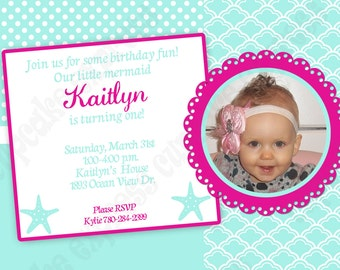 DIY Mermaid Birthday Collection PRINTABLE Party photo Invitation under the sea teal turquoise pink