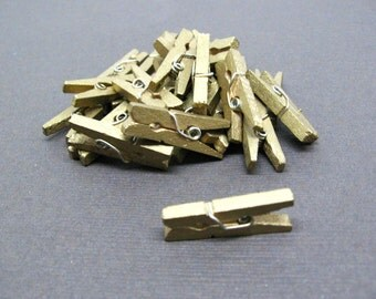 Metallic Gold Mini Clothespin - Set of 25
