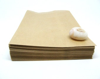 "100 Brown Kraft Bags 5"" x 7"", Recycled Paper Bags"