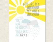 11x14 You Are My Sunshine You Make Me Happy When Skies Are Gray Print