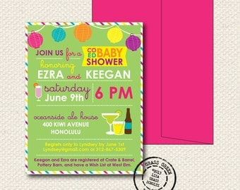CoEd Baby Shower Invitation - 25 Custom Invitations with Envelopes